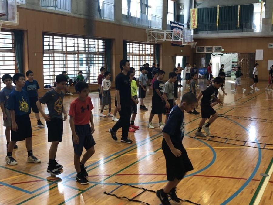 バスケットボールスクールバディングの練習の様子